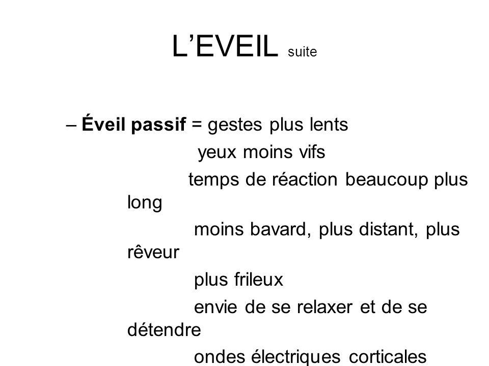 LEVEIL suite –Éveil passif = gestes plus lents yeux moins vifs temps de réaction beaucoup plus long moins bavard, plus distant, plus rêveur plus frile