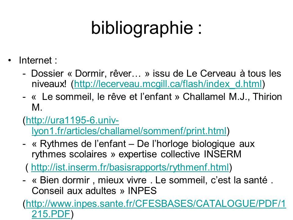 bibliographie : Internet : - Dossier « Dormir, rêver… » issu de Le Cerveau à tous les niveaux! (http://lecerveau.mcgill.ca/flash/index_d.html)http://l