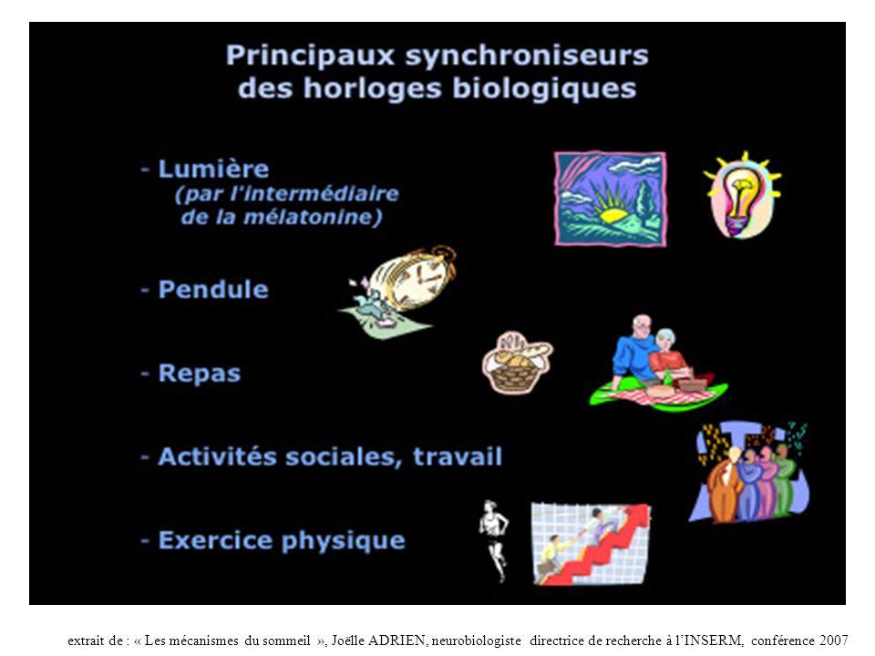 extrait de : « Les mécanismes du sommeil », Joëlle ADRIEN, neurobiologiste directrice de recherche à lINSERM, conférence 2007