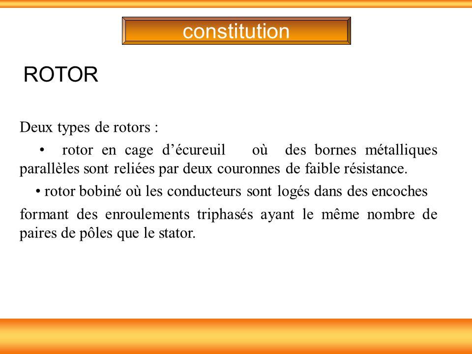 constitution Deux types de rotors : rotor en cage décureuil où des bornes métalliques parallèles sont reliées par deux couronnes de faible résistance.