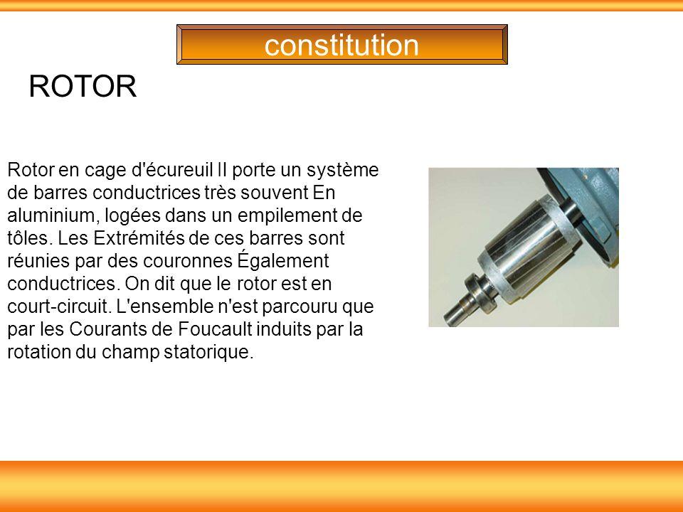 constitution Rotor en cage d'écureuil Il porte un système de barres conductrices très souvent En aluminium, logées dans un empilement de tôles. Les Ex