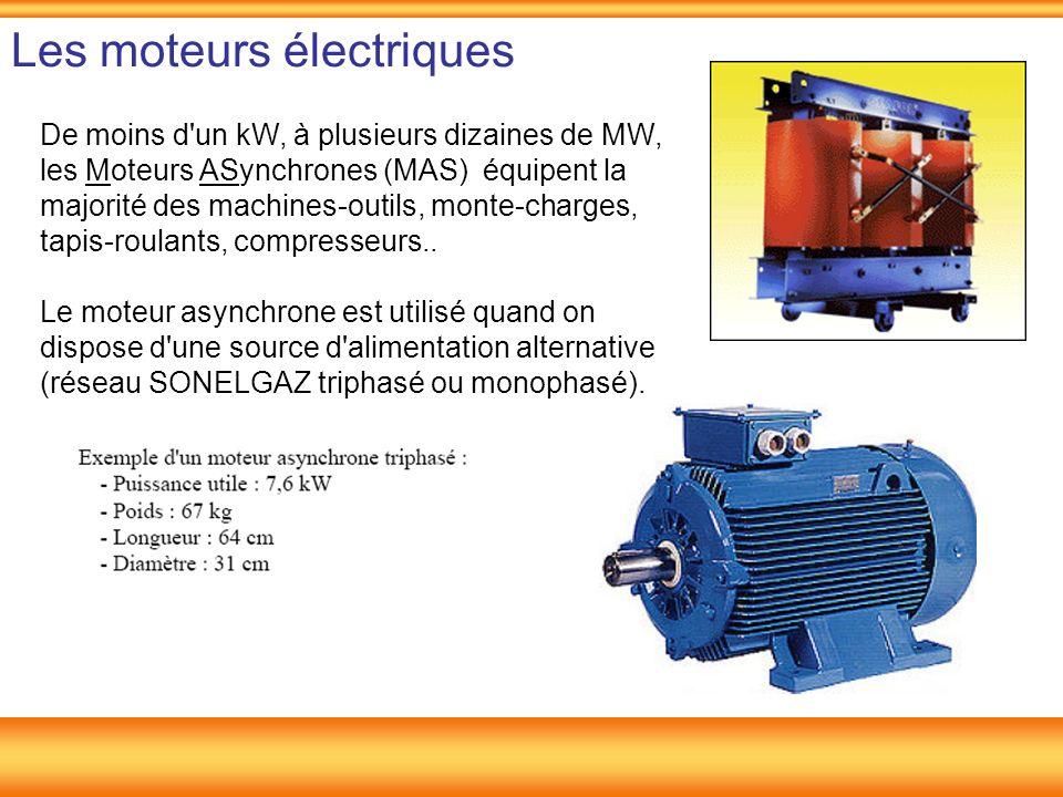 Les moteurs électriques De moins d'un kW, à plusieurs dizaines de MW, les Moteurs ASynchrones (MAS) équipent la majorité des machines-outils, monte-ch