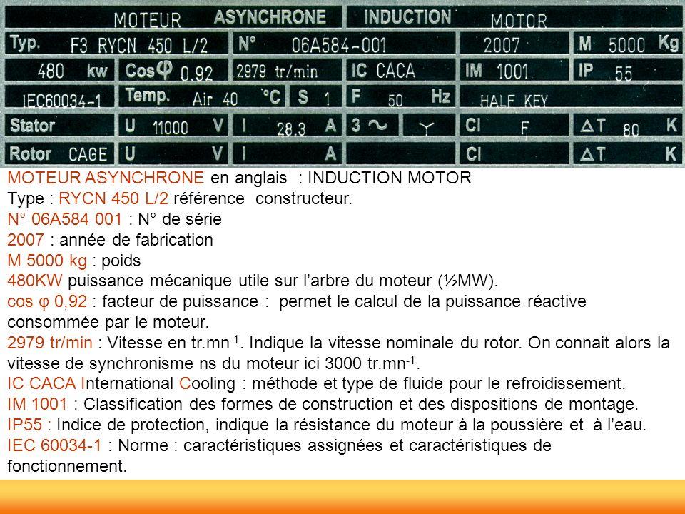 MOTEUR ASYNCHRONE en anglais : INDUCTION MOTOR Type : RYCN 450 L/2 référence constructeur. N° 06A584 001 : N° de série 2007 : année de fabrication M 5
