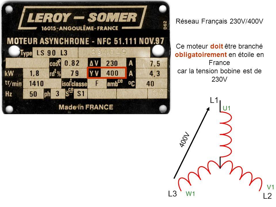 400V Réseau Français 230V/400V Ce moteur doit être branché obligatoirement en étoile en France car la tension bobine est de 230V