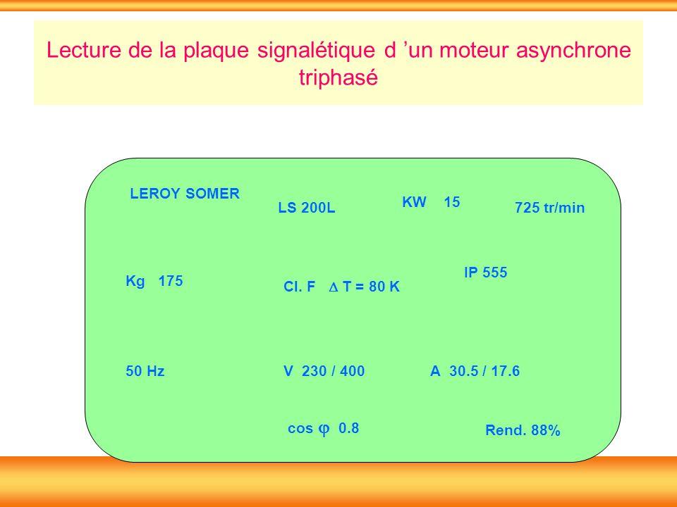 Lecture de la plaque signalétique d un moteur asynchrone triphasé LS 200L KW 15 Kg 175 50 Hz Cl. F T = 80 K IP 555 725 tr/min V 230 / 400A 30.5 / 17.6
