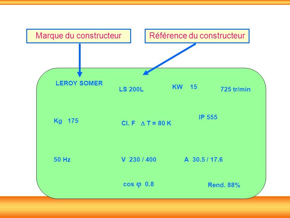LS 200L KW 15 Kg 175 50 Hz Cl. F T = 80 K IP 555 725 tr/min V 230 / 400A 30.5 / 17.6 cos 0.8 Rend. 88% LEROY SOMER Marque du constructeurRéférence du