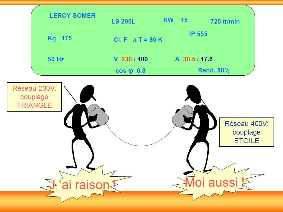 LS 200L KW 15 Kg 175 50 Hz Cl. F T = 80 K IP 555 725 tr/min V 230 / 400A 30.5 / 17.6 cos 0.8 Rend. 88% LEROY SOMER Réseau 230V: couplage TRIANGLE Rése