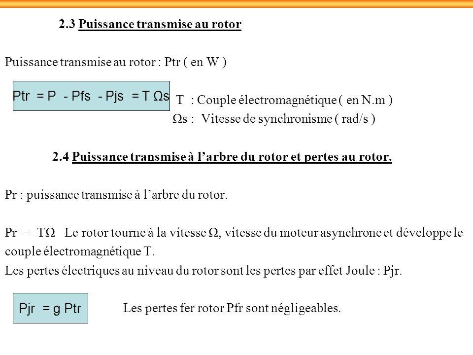 2.3 Puissance transmise au rotor Puissance transmise au rotor : Ptr ( en W ) T : Couple électromagnétique ( en N.m ) Ωs : Vitesse de synchronisme ( ra