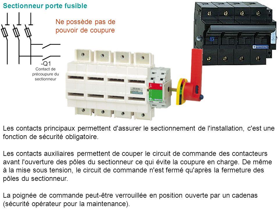 Sectionneur porte fusible Les contacts principaux permettent d'assurer le sectionnement de l'installation, c'est une fonction de sécurité obligatoire.