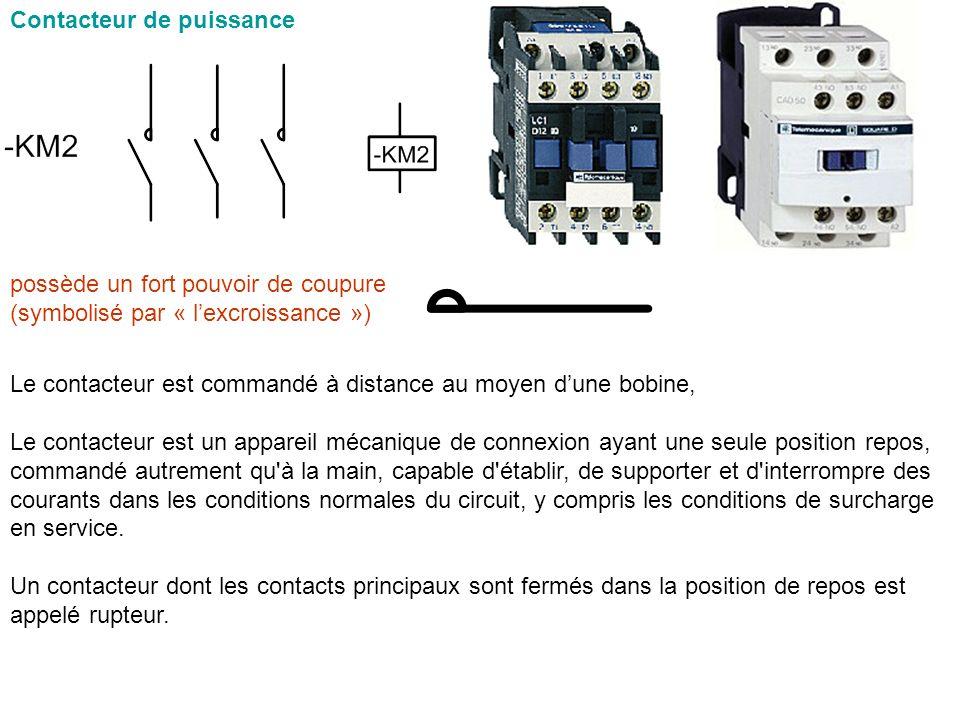 Contacteur de puissance Le contacteur est commandé à distance au moyen dune bobine, Le contacteur est un appareil mécanique de connexion ayant une seu
