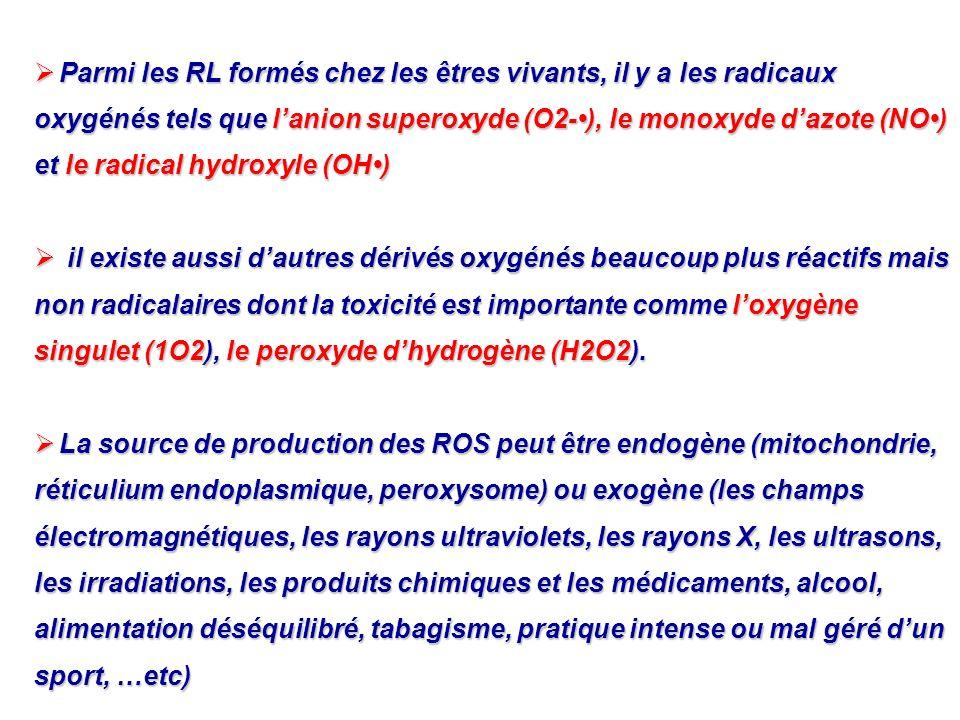 Parmi les RL formés chez les êtres vivants, il y a les radicaux oxygénés tels que lanion superoxyde (O2-), le monoxyde dazote (NO) et le radical hydro