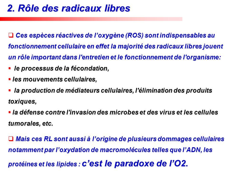 Ces espèces réactives de loxygène (ROS) sont indispensables au fonctionnement cellulaire en effet la majorité des radicaux libres jouent un rôle impor
