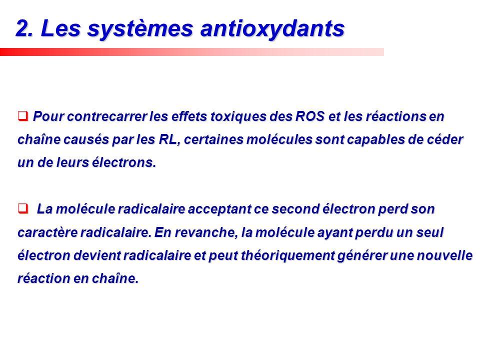 Pour contrecarrer les effets toxiques des ROS et les réactions en chaîne causés par les RL, certaines molécules sont capables de céder un de leurs éle