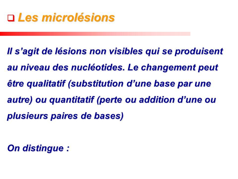 Les microlésions Les microlésions Il sagit de lésions non visibles qui se produisent au niveau des nucléotides. Le changement peut être qualitatif (su