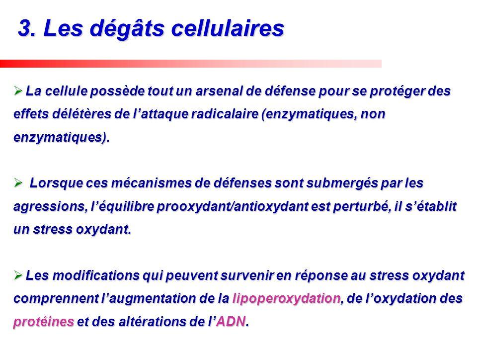 La cellule possède tout un arsenal de défense pour se protéger des effets délétères de lattaque radicalaire (enzymatiques, non enzymatiques). La cellu