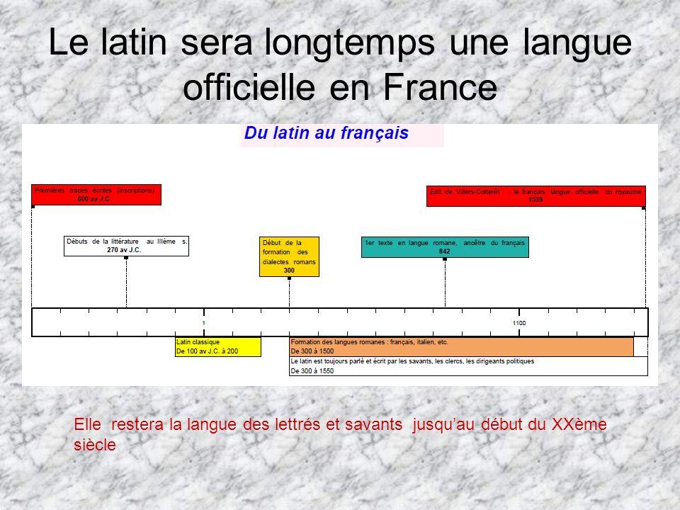 Le latin sera longtemps une langue officielle en France Elle restera la langue des lettrés et savants jusquau début du XXème siècle