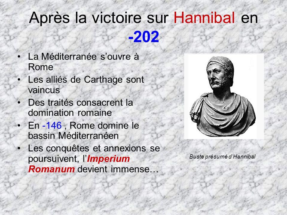 Après la victoire sur Hannibal en -202 La Méditerranée souvre à Rome Les alliés de Carthage sont vaincus Des traités consacrent la domination romaine