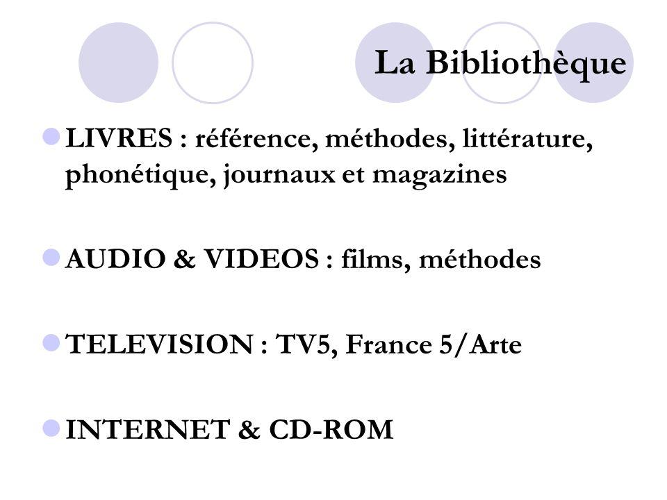 La Bibliothèque LIVRES : référence, méthodes, littérature, phonétique, journaux et magazines AUDIO & VIDEOS : films, méthodes TELEVISION : TV5, France 5/Arte INTERNET & CD-ROM