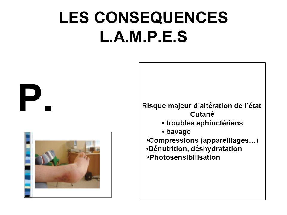LES CONSEQUENCES L.A.M.P.E.S P. Risque majeur daltération de létat Cutané troubles sphinctériens bavage Compressions (appareillages…) Dénutrition, dés