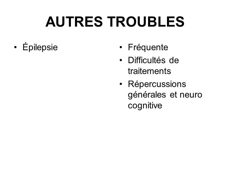 AUTRES TROUBLES ÉpilepsieFréquente Difficultés de traitements Répercussions générales et neuro cognitive