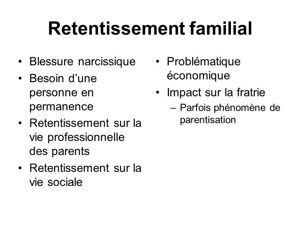 Retentissement familial Blessure narcissique Besoin dune personne en permanence Retentissement sur la vie professionnelle des parents Retentissement s