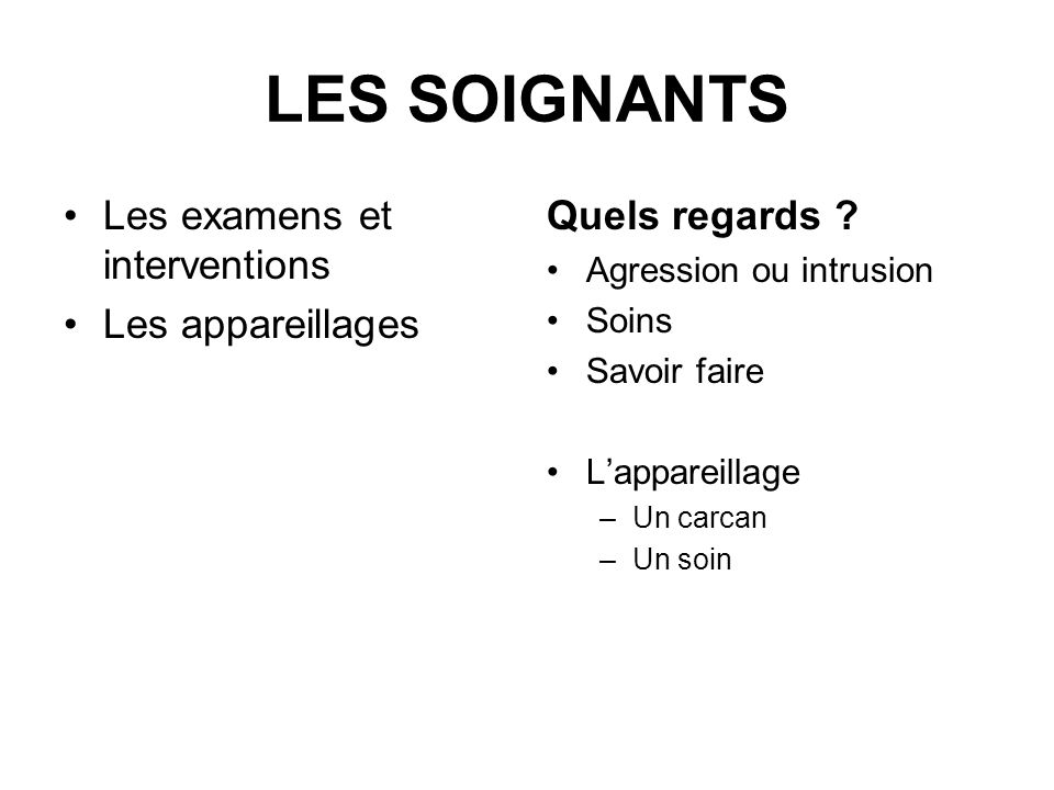 LES SOIGNANTS Les examens et interventions Les appareillages Quels regards ? Agression ou intrusion Soins Savoir faire Lappareillage –Un carcan –Un so