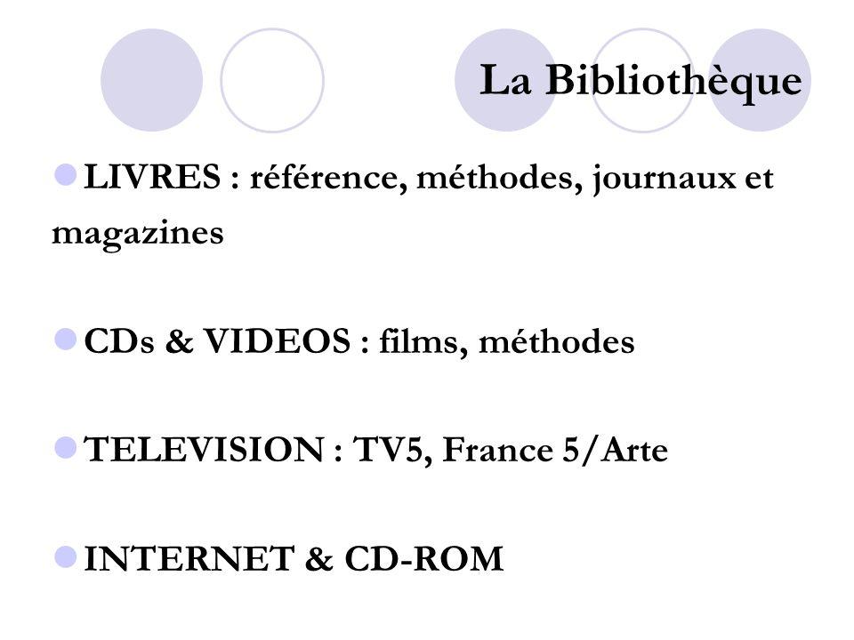La Bibliothèque LIVRES : référence, méthodes, journaux et magazines CDs & VIDEOS : films, méthodes TELEVISION : TV5, France 5/Arte INTERNET & CD-ROM