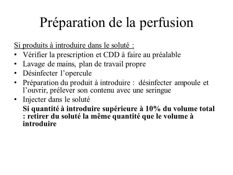 Mise en place du perfuseur (1/1) Vérifier lintégrité de lemballage, date de péremption Désinfecter lopercule et brancher la tubulure.