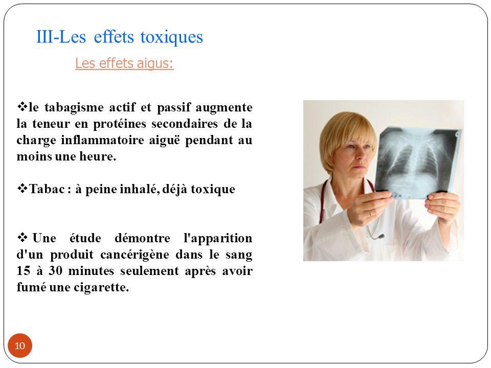 10 III-Les effets toxiques Les effets aigus: le tabagisme actif et passif augmente la teneur en protéines secondaires de la charge inflammatoire aiguë