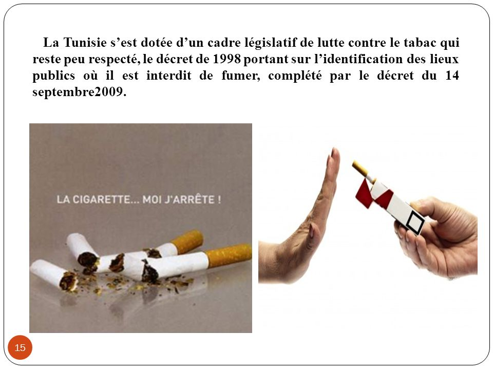 La Tunisie sest dotée dun cadre législatif de lutte contre le tabac qui reste peu respecté, le décret de 1998 portant sur lidentification des lieux pu