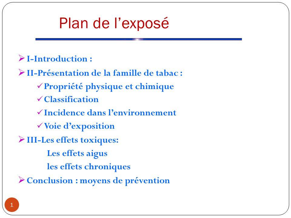 Plan de lexposé I-Introduction : II-Présentation de la famille de tabac : Propriété physique et chimique Classification Incidence dans lenvironnement