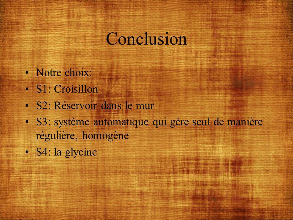 Conclusion Notre choix: S1: Croisillon S2: Réservoir dans le mur S3: système automatique qui gère seul de manière régulière, homogène S4: la glycine