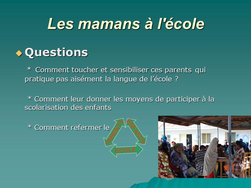 Les mamans à l'école Questions Questions * Comment toucher et sensibiliser ces parents qui pratique pas aisément la langue de lécole ? * Comment touch