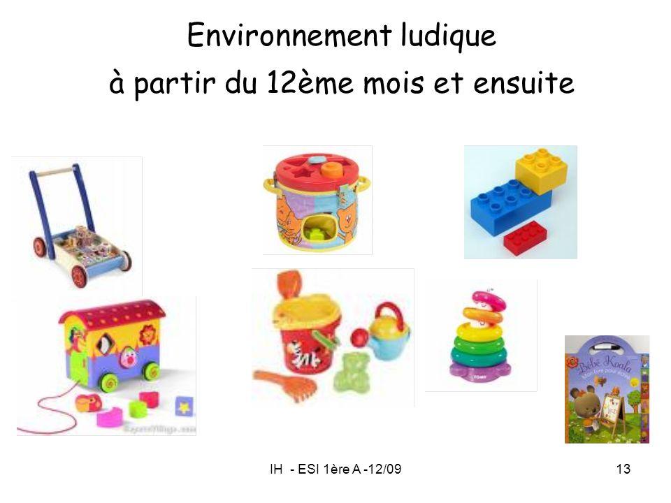IH - ESI 1ère A -12/0913 Environnement ludique à partir du 12ème mois et ensuite