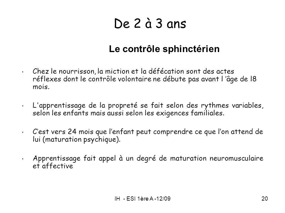 IH - ESI 1ère A -12/0920 Le contrôle sphinctérien Chez le nourrisson, la miction et la défécation sont des actes réflexes dont le contrôle volontaire