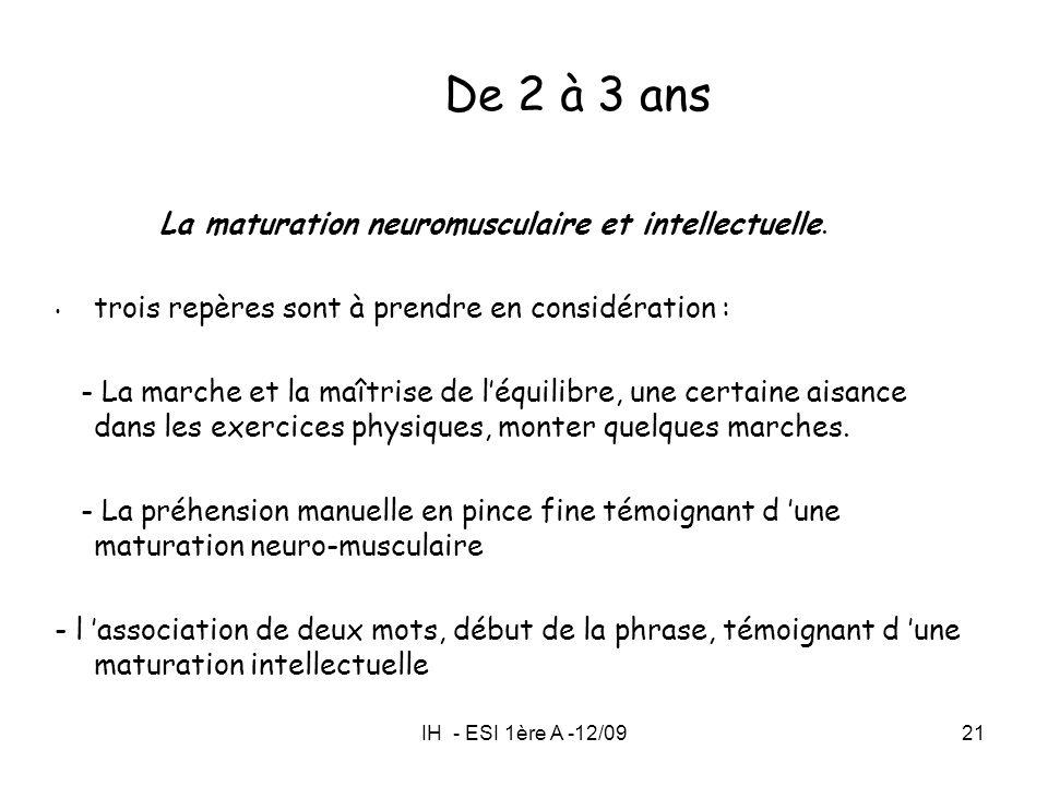 IH - ESI 1ère A -12/0921 La maturation neuromusculaire et intellectuelle. trois repères sont à prendre en considération : - La marche et la maîtrise d