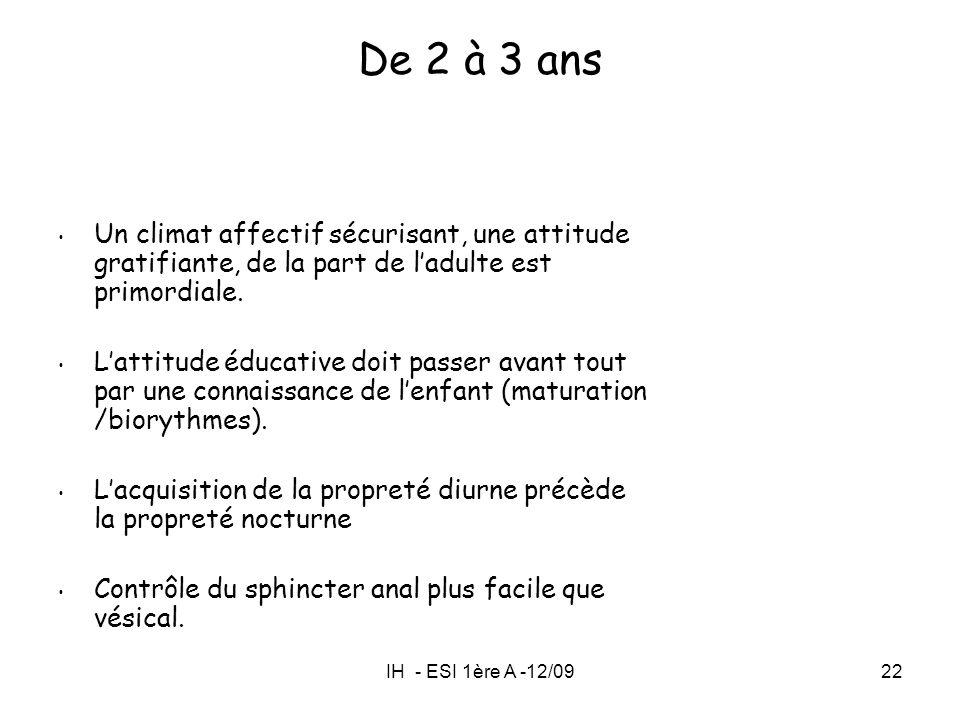 IH - ESI 1ère A -12/0922 Un climat affectif sécurisant, une attitude gratifiante, de la part de ladulte est primordiale. Lattitude éducative doit pass