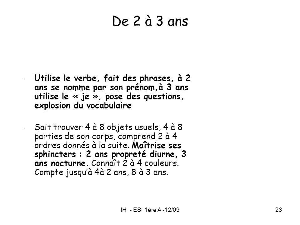 IH - ESI 1ère A -12/0923 Utilise le verbe, fait des phrases, à 2 ans se nomme par son prénom,à 3 ans utilise le « je », pose des questions, explosion
