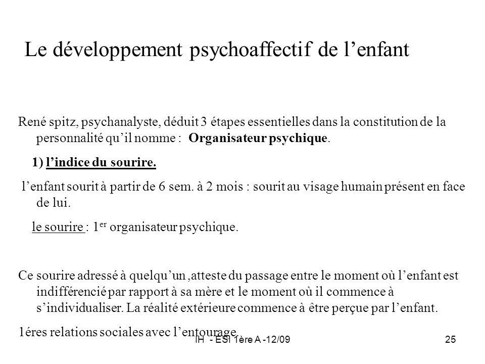 IH - ESI 1ère A -12/0925 Le développement psychoaffectif de lenfant René spitz, psychanalyste, déduit 3 étapes essentielles dans la constitution de la