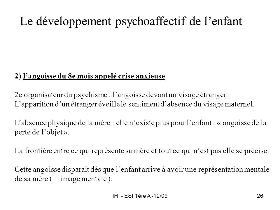 IH - ESI 1ère A -12/0926 Le développement psychoaffectif de lenfant 2) langoisse du 8e mois appelé crise anxieuse 2e organisateur du psychisme : lango