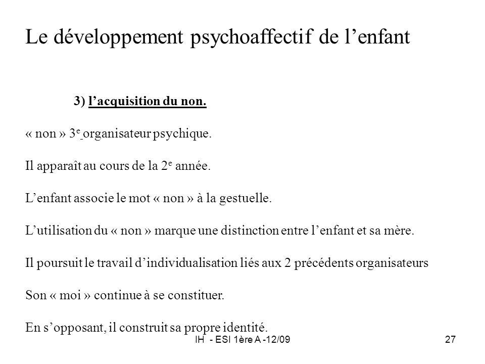 IH - ESI 1ère A -12/0927 Le développement psychoaffectif de lenfant 3) lacquisition du non. « non » 3 e organisateur psychique. Il apparaît au cours d