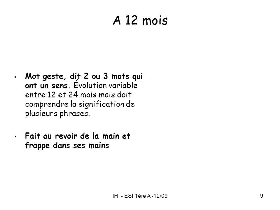 IH - ESI 1ère A -12/099 A 12 mois Mot geste, dit 2 ou 3 mots qui ont un sens. Évolution variable entre 12 et 24 mois mais doit comprendre la significa