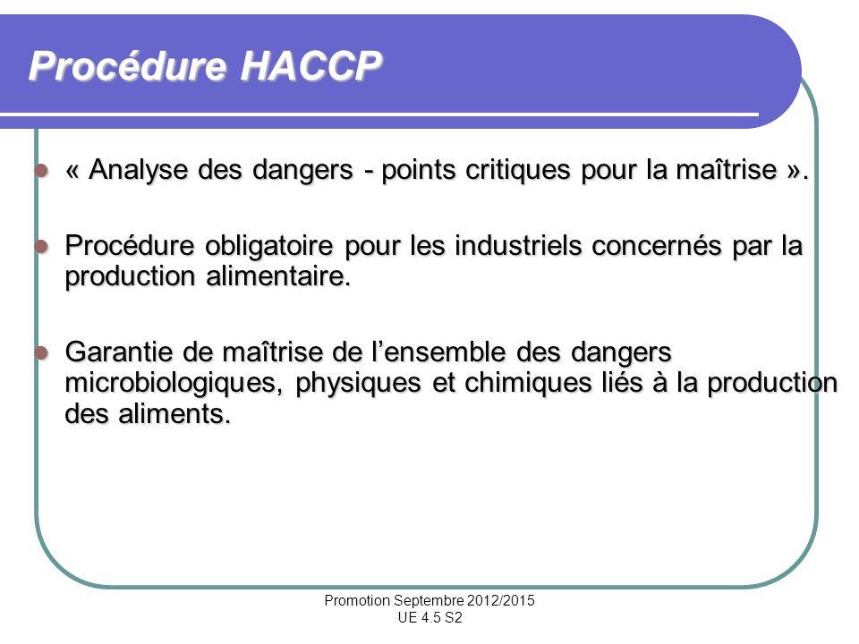 Promotion Septembre 2012/2015 UE 4.5 S2 Procédure HACCP « Analyse des dangers - points critiques pour la maîtrise ». « Analyse des dangers - points cr