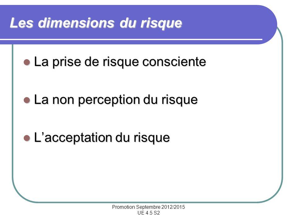 Promotion Septembre 2012/2015 UE 4.5 S2 Les dimensions du risque La prise de risque consciente La prise de risque consciente La non perception du risq