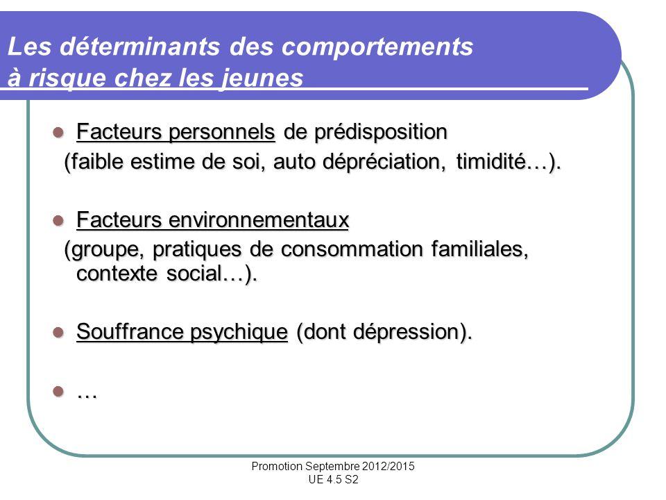 Promotion Septembre 2012/2015 UE 4.5 S2 Les déterminants des comportements à risque chez les jeunes Facteurs personnels de prédisposition Facteurs per