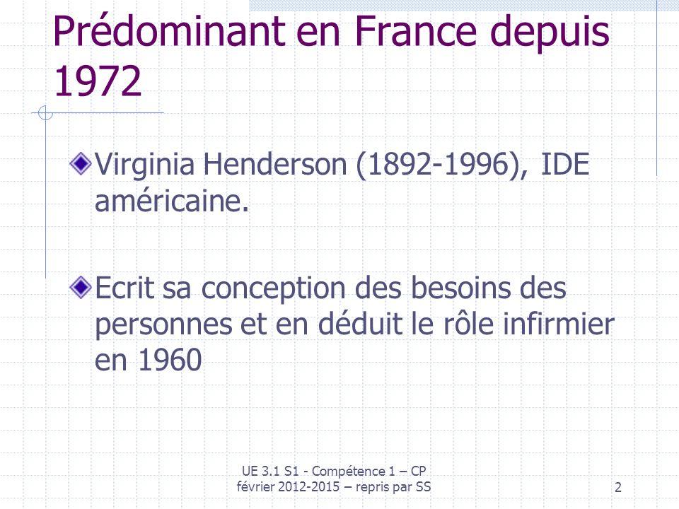Prédominant en France depuis 1972 Virginia Henderson (1892-1996), IDE américaine. Ecrit sa conception des besoins des personnes et en déduit le rôle i