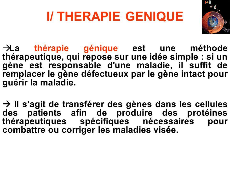 I/ THERAPIE GENIQUE La thérapie génique est une méthode thérapeutique, qui repose sur une idée simple : si un gène est responsable d'une maladie, il s