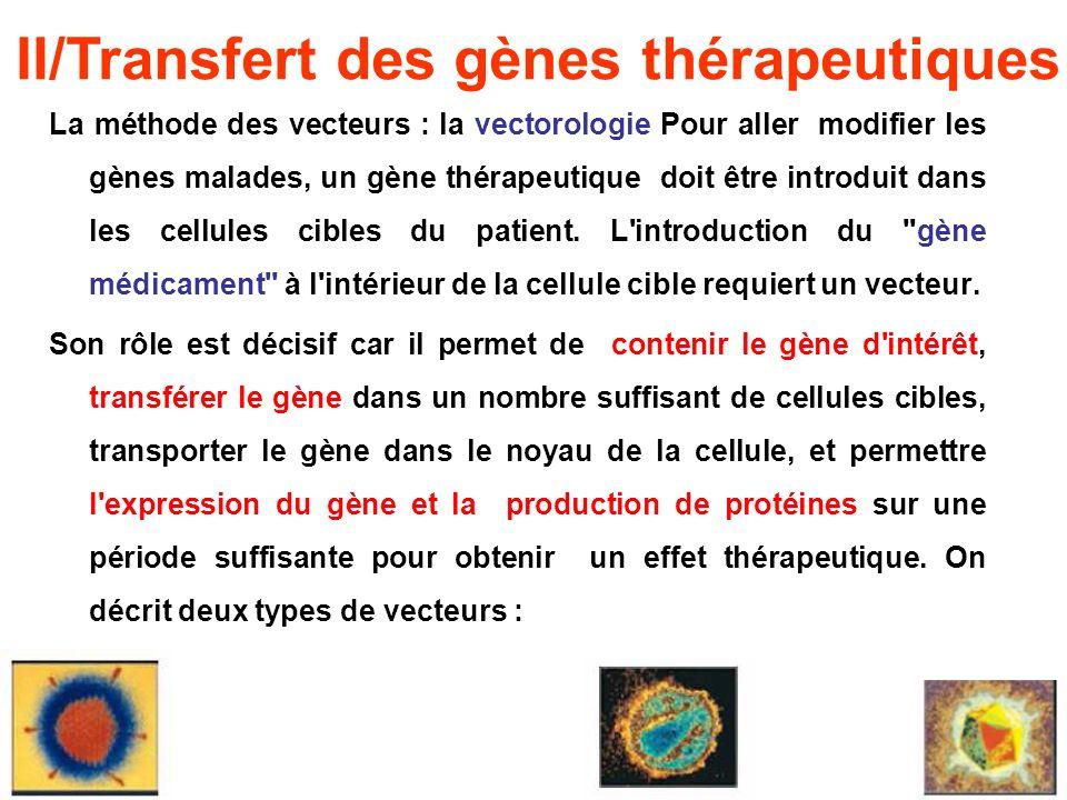 La méthode des vecteurs : la vectorologie Pour aller modifier les gènes malades, un gène thérapeutique doit être introduit dans les cellules cibles du