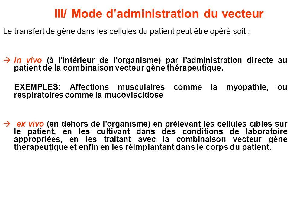 Le transfert de gène dans les cellules du patient peut être opéré soit : in vivo (à l'intérieur de l'organisme) par l'administration directe au patien