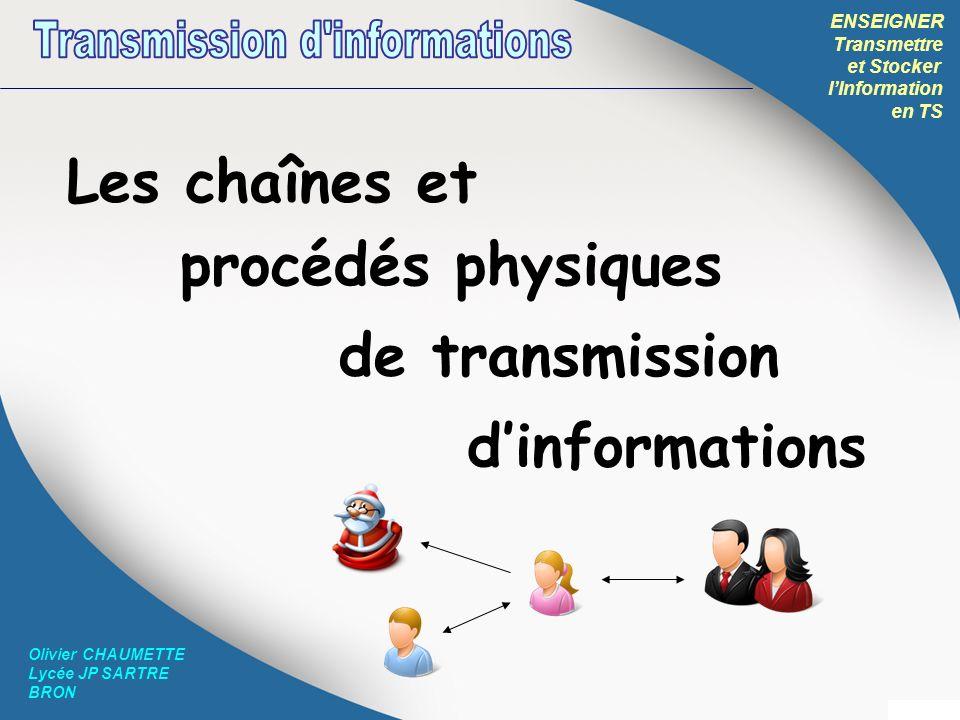 ENSEIGNER Transmettre et Stocker lInformation en TS Olivier CHAUMETTE Lycée JP SARTRE BRON Les chaînes et procédés physiques de transmission dinformat